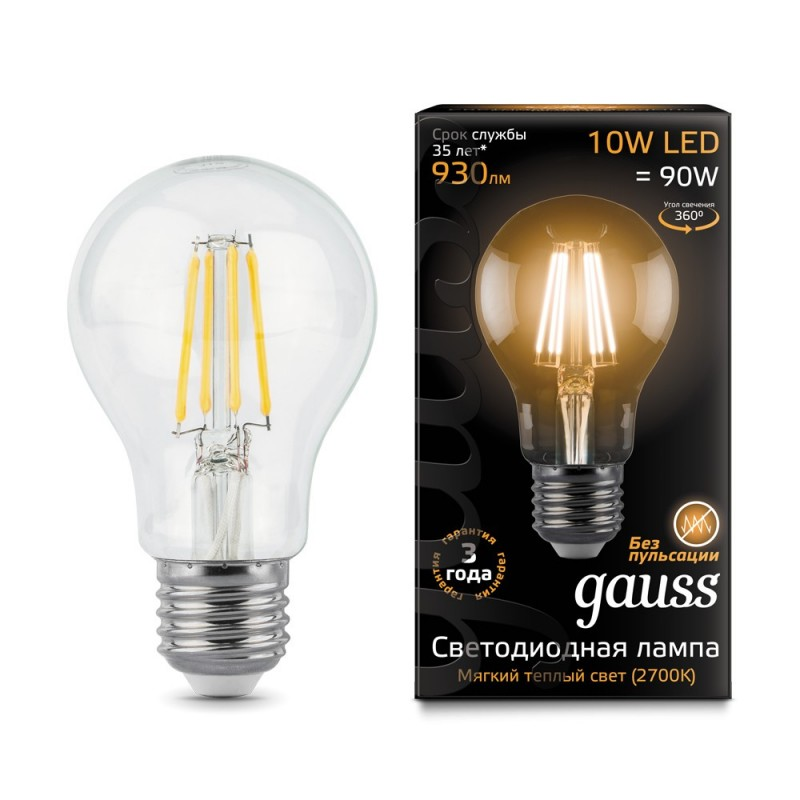 Лампа светодиодная филаментная E27 10W 2700К прозрачная 930lm 102802110