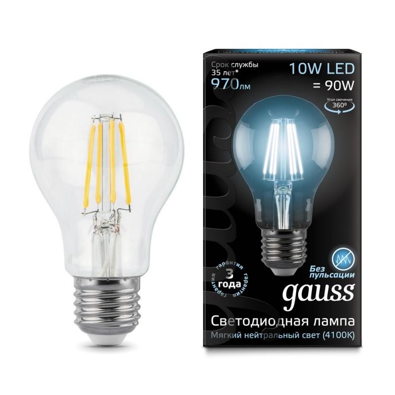 Лампа светодиодная филаментная E27 10W 4100К прозрачная 970lm 102802210