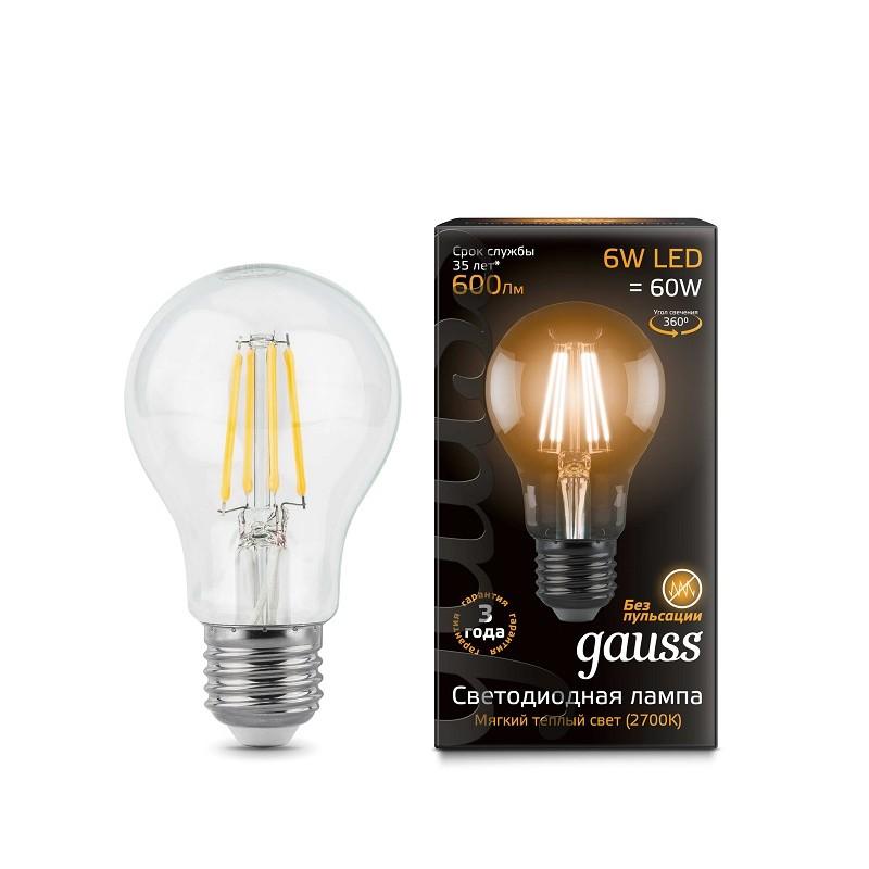 Лампа светодиодная филаментная E27 6W 2700К прозрачная 600lm 102802106