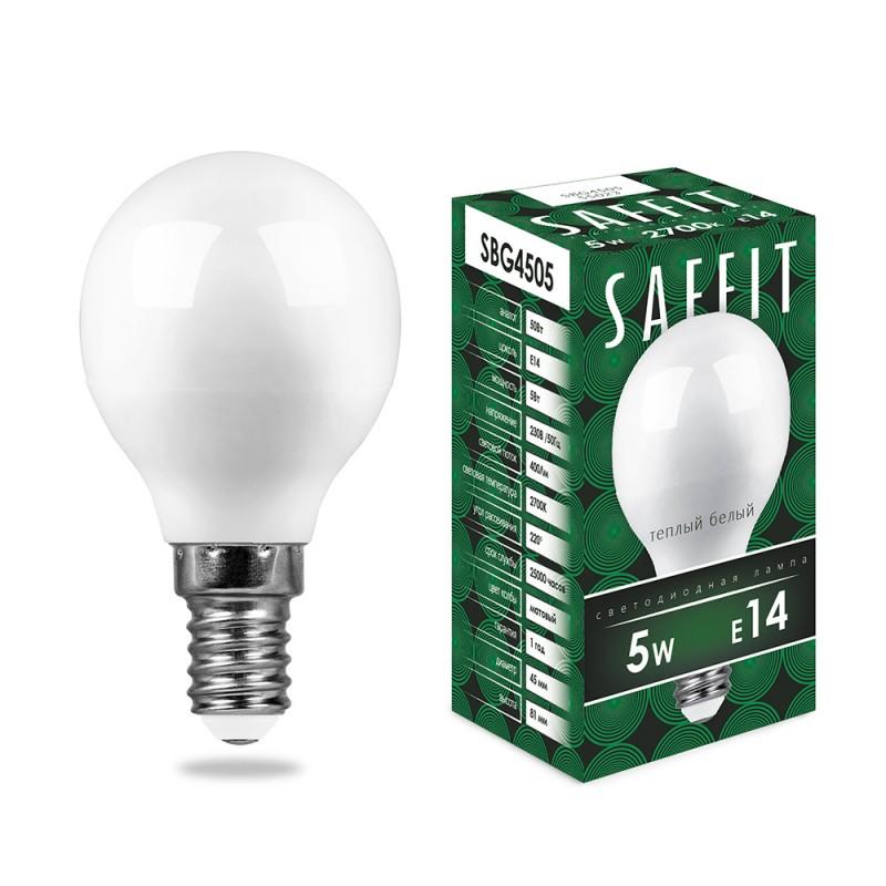 Лампа светодиодная SAFFIT SBG4505 Шарик E14 5W 4000K