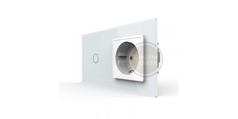 LIVOLO Сенсорный выключатель с розеткой белый стекло VL-C701/C7C1EU-11