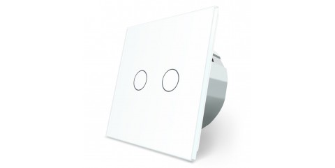 LIVOLO Сенсорный выключатель 2 клавиши 1 пост Белый VL-C702-11