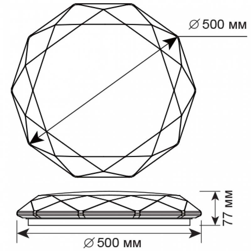 Потолочный светодиодный светильник Maysun ALMAZ 60W RGB R-500-SHINY/WHITE-220V-IP44 / 2019