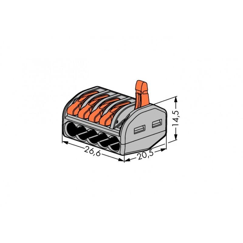 Cтроительно-монтажные клеммы WAGO 5-проводные, 222-415