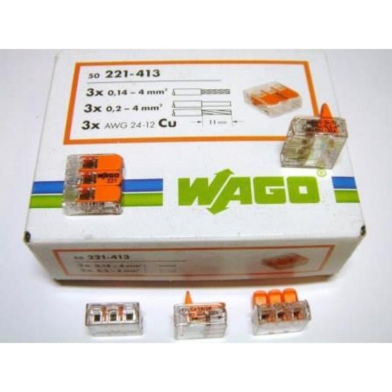 Универсальные компактные клеммы WAGO 3-проводные, 221-413