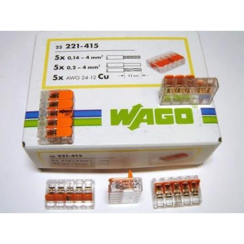 Универсальные компактные клеммы WAGO 5-проводные, 221-415