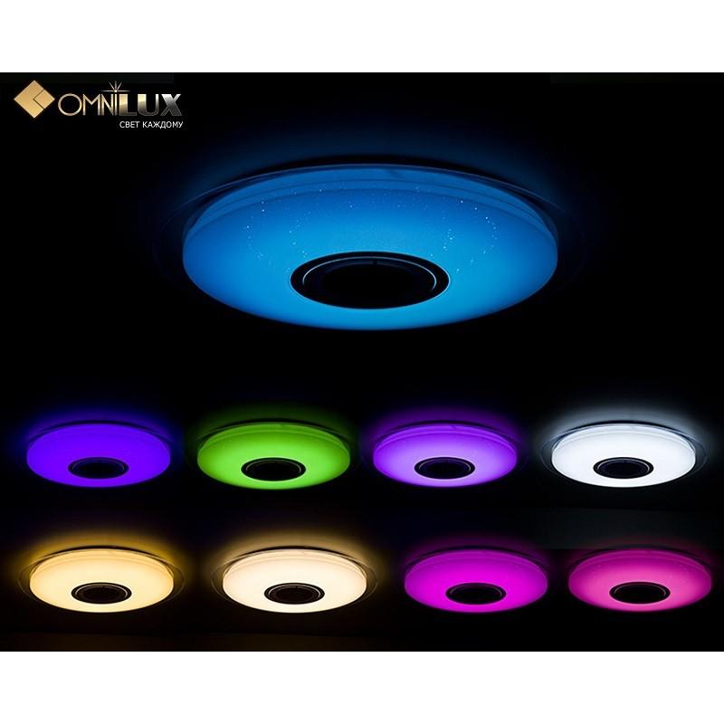 Потолочный светодиодный светильник с пультом, функцией RGB и звуковой колонкой Omnilux OML-47307-52  52W MELOFON RGB PLAY