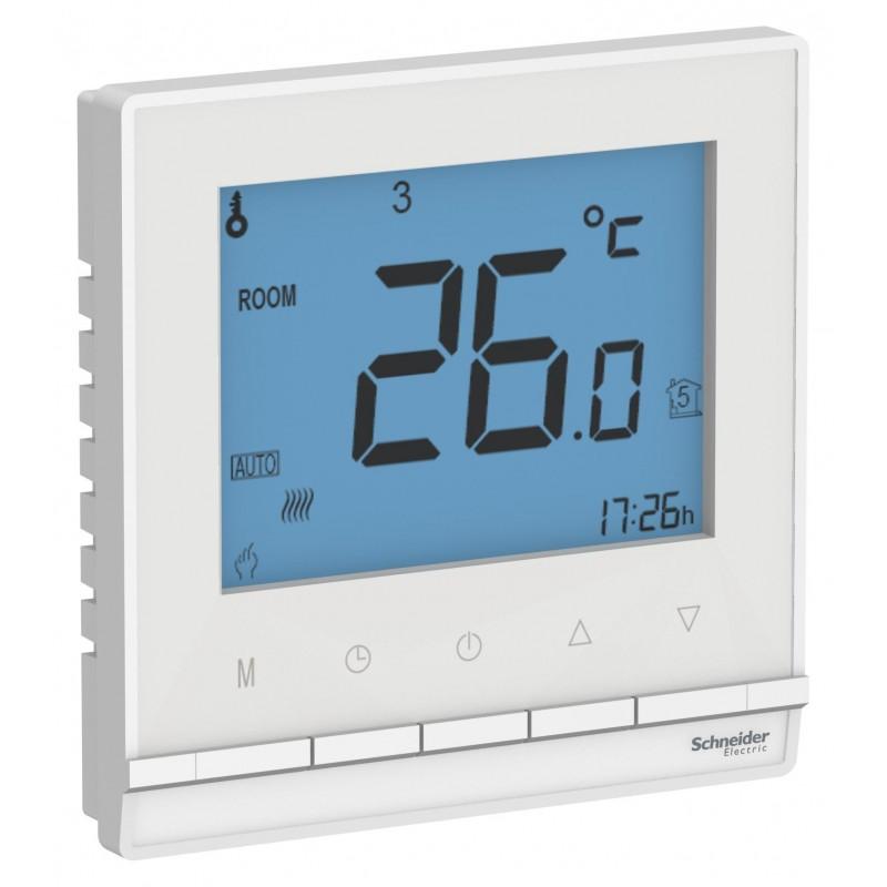 """SCHNEIDER ELECTRIC AtlasDesign Термостат для теплого пола с датчиком, """"белый"""" ATN000138 SE"""