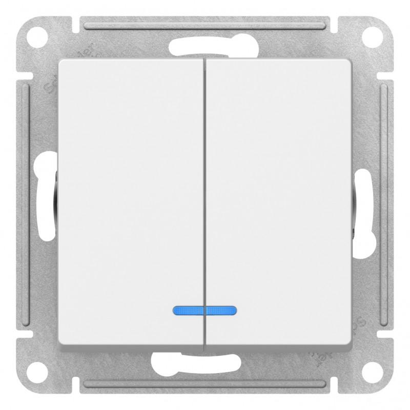 """SCHNEIDER ELECTRIC AtlasDesign Выключатель 2-кл с подсв, 10A 250V, """"белый"""" ATN000153 SE"""