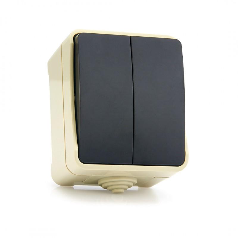 """Выключатель 2-клавишный 10А, IP 54 """"Сатурн"""" (SBE-04w-10-SW2-0)"""