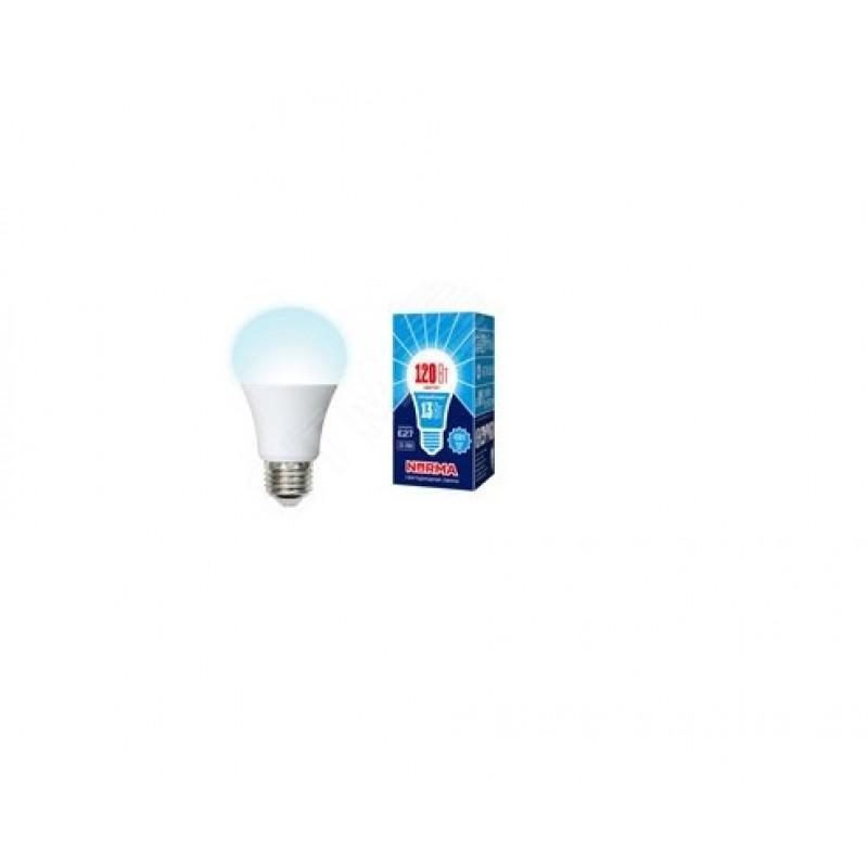 Лампа светодиодная LED-A60-13W/NW/E27/FR/NR Форма A, матовая. Серия Norma. Белый свет (4000K). Картон. ТМ Volpe
