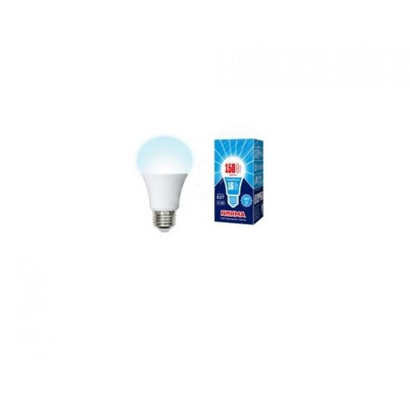 Лампа светодиодная LED-A60-16W/NW/E27/FR/NR Форма A, матовая. Серия Norma. Белый свет (4000K). Картон. ТМ Volpe