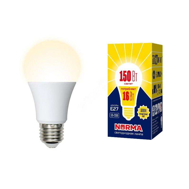 Лампа светодиодная LED-A60-16W/WW/E27/FR/NR Форма A, матовая. Серия Norma. Теплый белый свет (3000K). Картон. ТМ Volpe