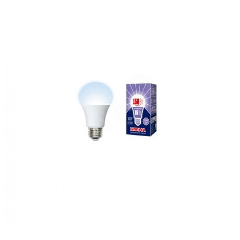 Лампа светодиодная LED-A60-16W/DW/E27/FR/NR Форма A, матовая. Серия Norma. Дневной белый свет (6500K). Картон. ТМ Volpe