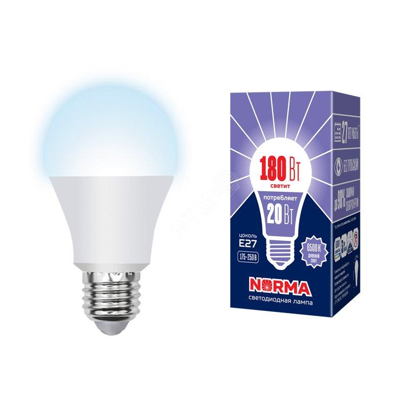 Лампа светодиодная LED-A65-20W/DW/E27/FR/NR Форма A, матовая. Серия Norma. Дневной белый свет (6500K). Картон. ТМ Volpe