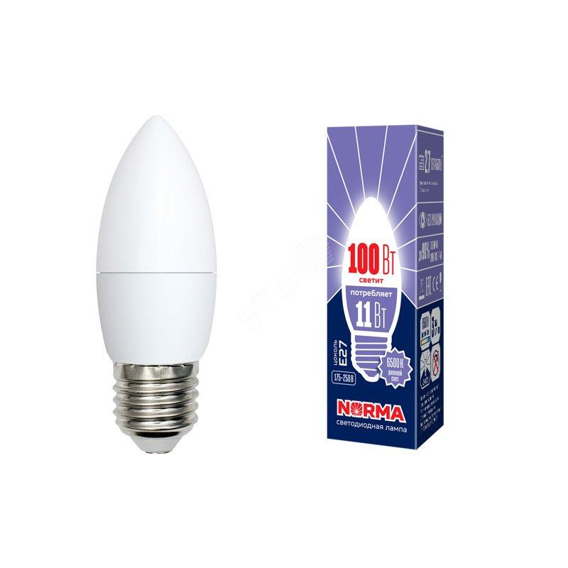 Лампа светодиодная LED-C37-11W/DW/E27/FR/NR Форма свеча, матовая. Серия Norma. Дневной белый свет (6500K). Картон. ТМ Volpe