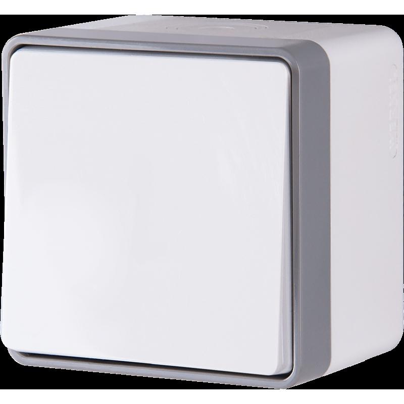 Выключатель одноклавишный влагозащищенный Werkel Gallant белый WL15-01-02