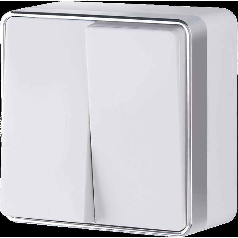 Выключатель двухклавишный Werkel Gallant белый WL15-03-01