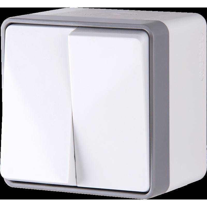 Выключатель двухклавишный влагозащищенный Werkel Gallant белый WL15-03-02