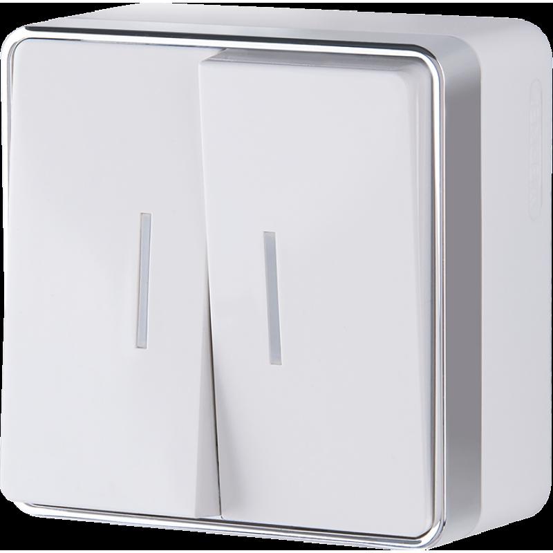 Выключатель двухклавишный с подсветкой  Werkel Gallant белый WL15-03-03