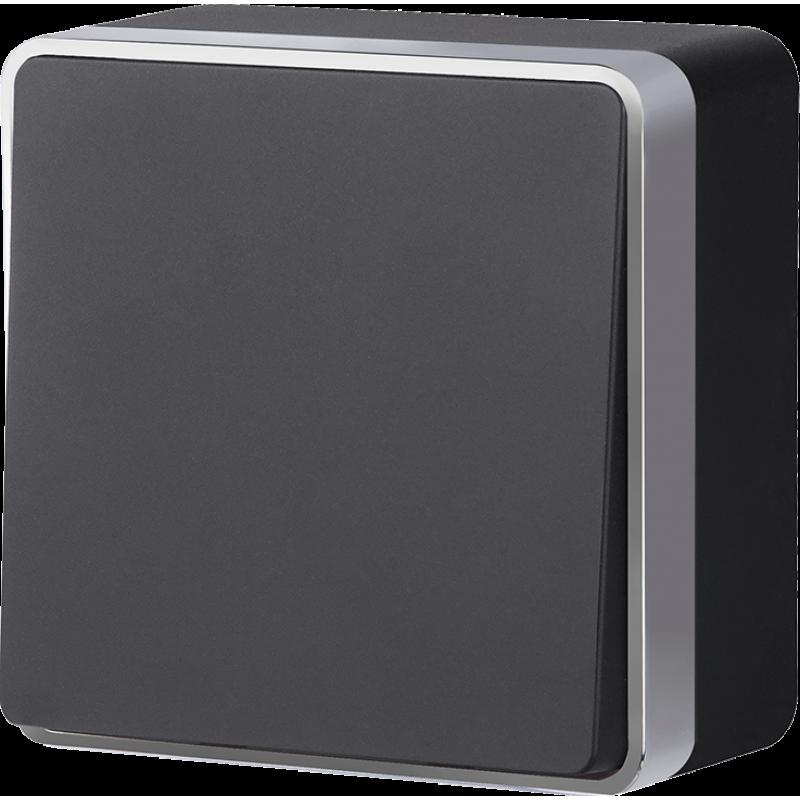 Выключатель одноклавишный Werkel Gallant черный с серебром WL15-01-01