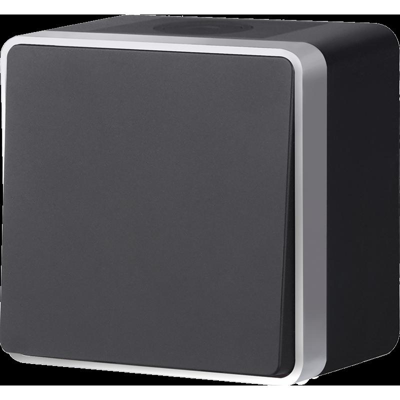 Выключатель одноклавишный влагозащищенный Werkel Gallant черный с серебром WL15-01-02