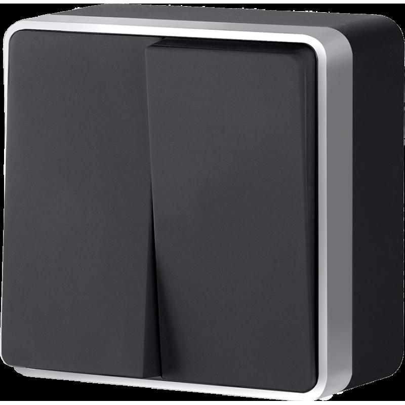 Выключатель двухклавишный Werkel Gallant черный с серебром WL15-03-01