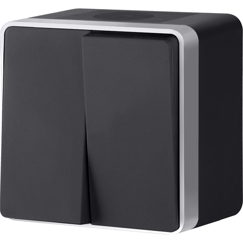 Выключатель двухклавишный влагозащищенный Werkel Gallant черный с серебром WL15-03-02