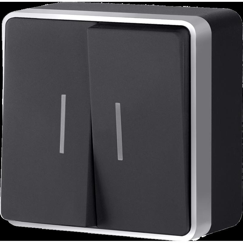 Выключатель двухклавишный с подсветкой  Werkel Gallant черный с серебром WL15-03-03