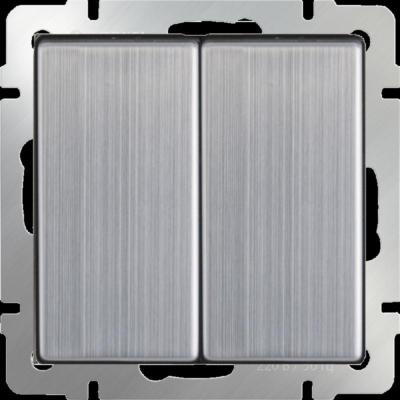 Выключатель двухклавишный Werkel Глянцевый никель WL02-SW-2G