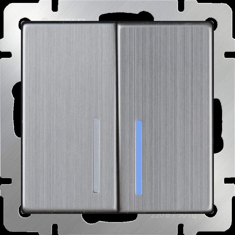 Выключатель двухклавишный  с подсветкой Werkel Глянцевый никель WL02-SW-2G-LED