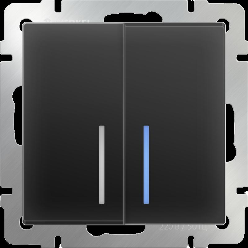 Выключатель двухклавишный  с подсветкой Werkel Черный WL08-SW-2G-LED