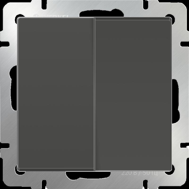Выключатель двухклавишный Werkel Серо-коричневый WL07-SW-2G