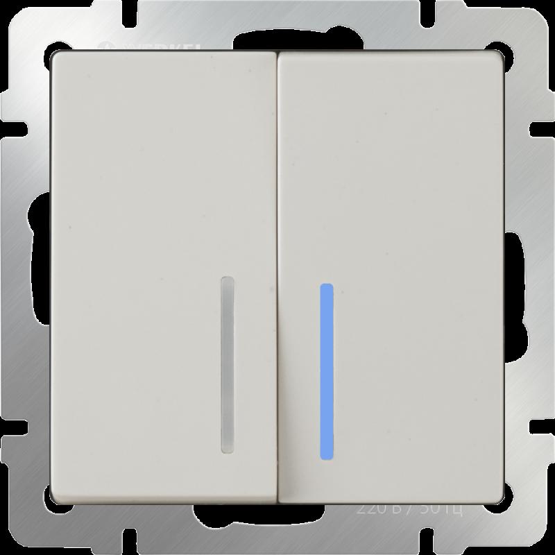 Выключатель двухклавишный  с подсветкой Werkel Слоновая кость WL03-SW-2G-LED