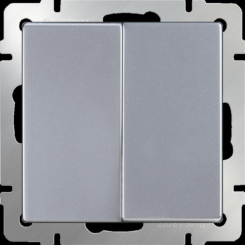 Выключатель двухклавишный Werkel Серебряный WL06-SW-2G