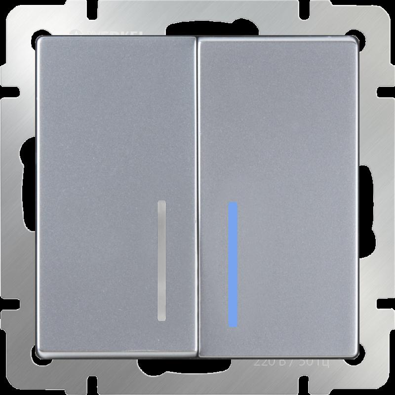 Выключатель двухклавишный  с подсветкой Werkel Серебряный WL06-SW-2G-LED