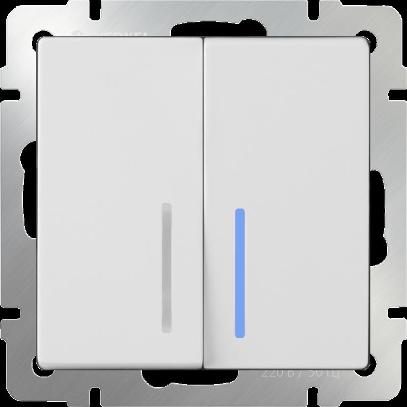 Выключатель двухклавишный  с подсветкой Werkel Белый WL01-SW-2G-LED