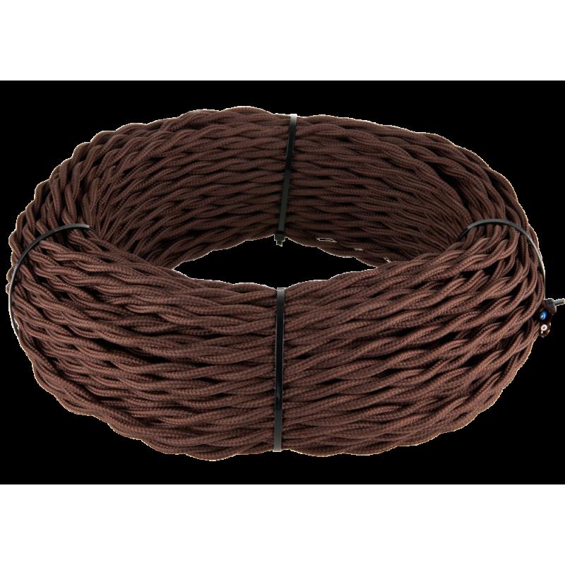 Ретро кабель витой 2х1,5 (коричневый)
