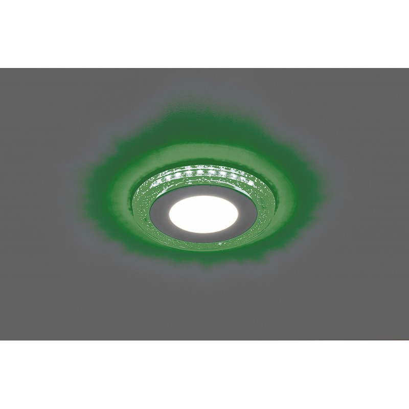 Светодиодный светильник Feron AL2330 встраиваемый 6W 4000K с зелёной подсветкой, белый