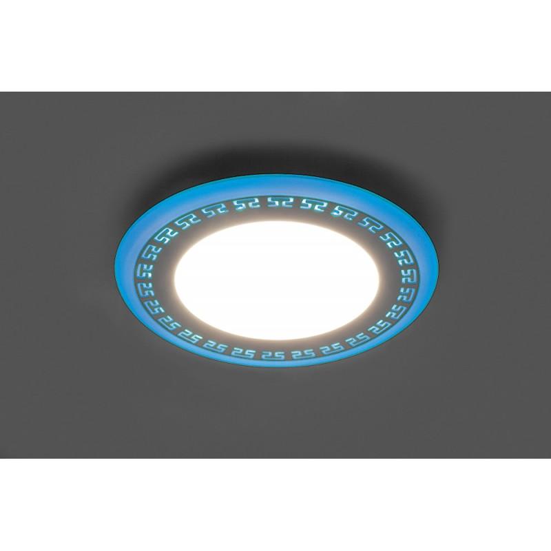 Светодиодный светильник Feron AL2440 встраиваемый 6W 4000K с синей подсветкой, белый