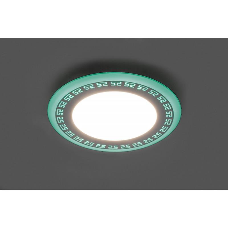 Светодиодный светильник Feron AL2440 встраиваемый 6W 4000K с зелёной подсветкой, белый