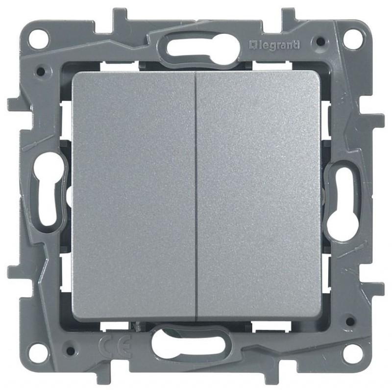 Механизм выключателя 2-клавишного алюминий 672402 Legrand Etika