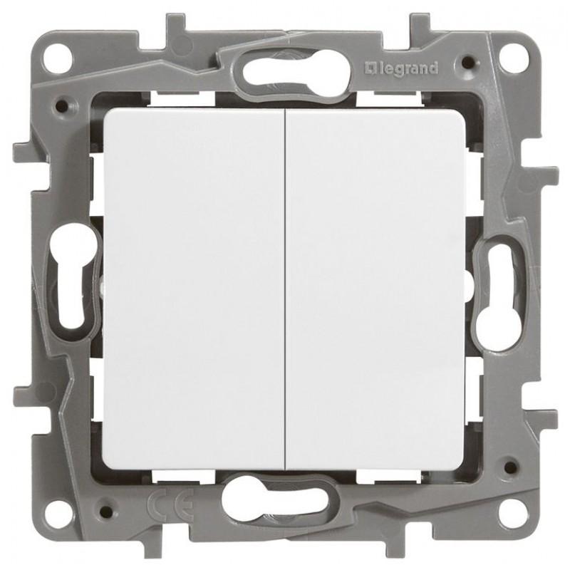 Механизм выключателя 2-клавишного белый 672202 Legrand Etika