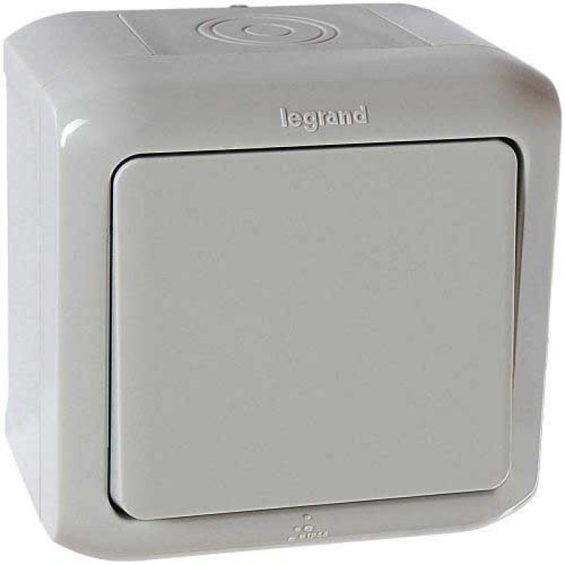 Выключатель 1-клавишный IP44 серый 782330 Legrand (Quteo)