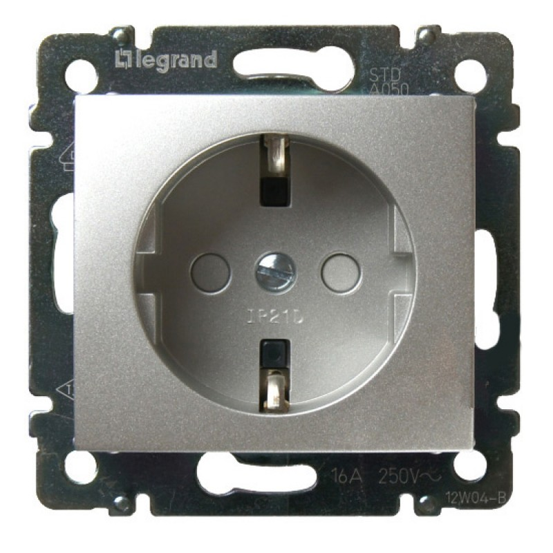 Механизм розетки (2К+3) 16А со шторками алюминий Legrand Valena 770121