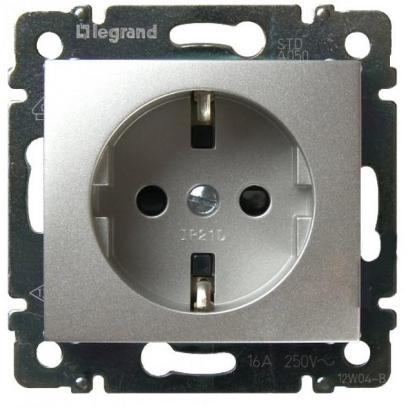 Механизм розетки (2К+3) 16А немецкий стандарт алюминий Legrand Valena 770120