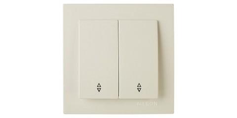 Переключатель 2-клавишный проходной  крем NILSON Touran 24121009