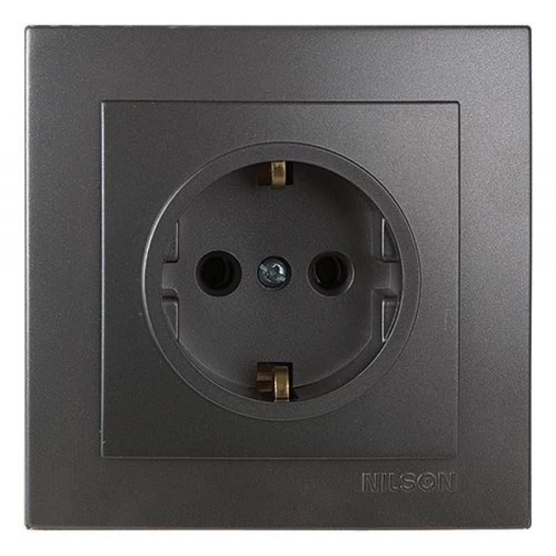 Розетка электрическая силовая NILSON Touran  Розетка с Заземлением антрацит