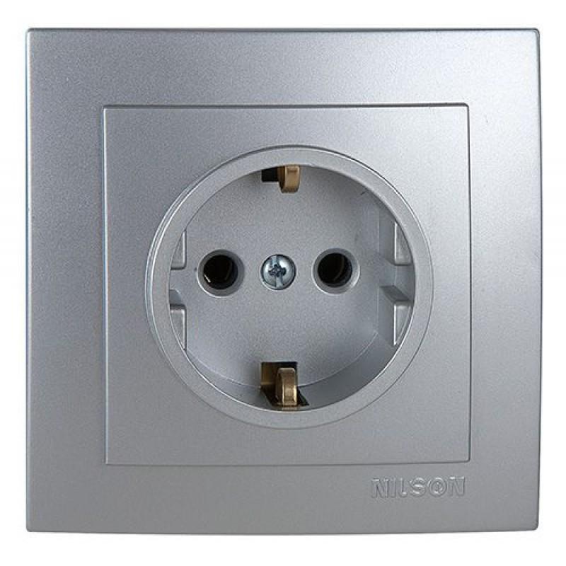 Розетка электрическая силовая NILSON Touran  Розетка с Заземлением серебро