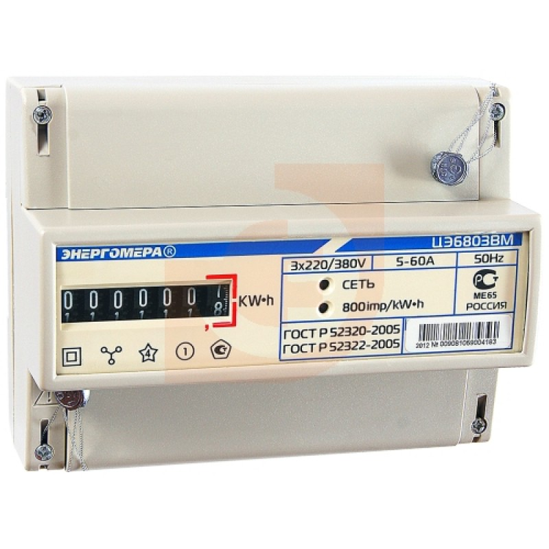 Счётчик трехфазный Энергомера ЦЭ6803В Р31 10(100)